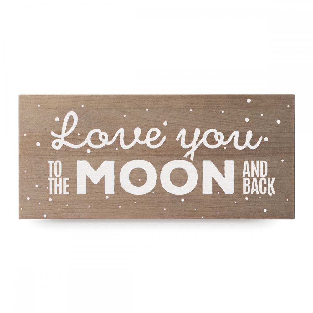 Cartel de madera 'Love you moon'