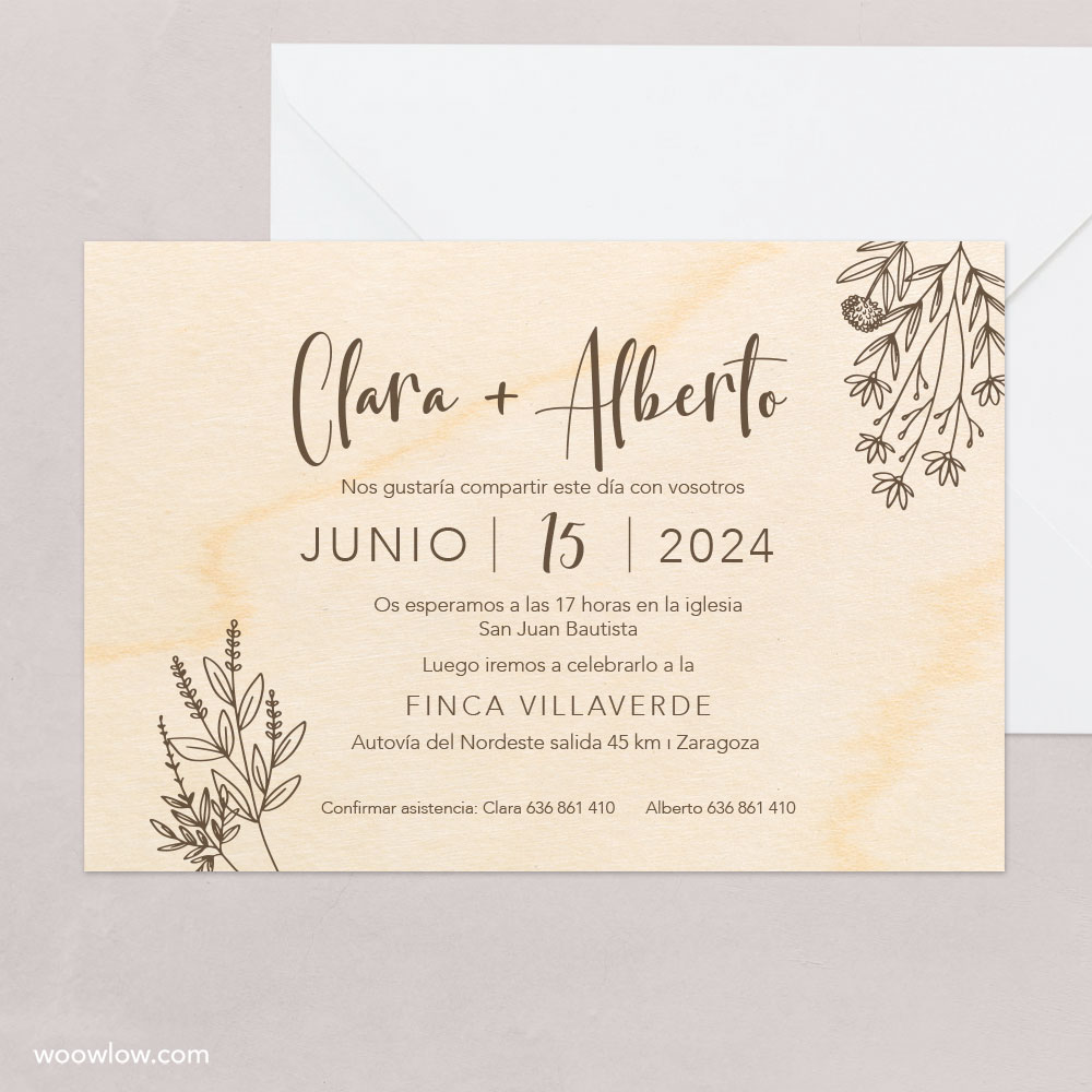 Invitación boda madera 'Natural'