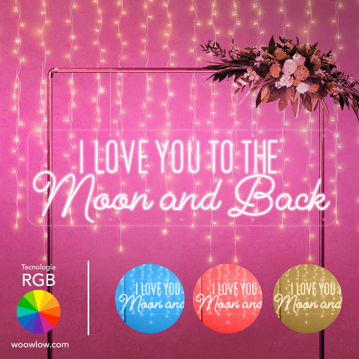 Alquiler Neón Boda RGB 'To the Moon and Back'